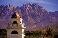 NMSU, New Mexico State University, Organ Mountains in the distance.