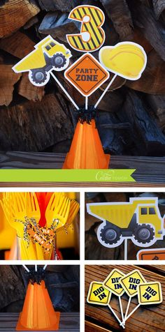 Construction Centerpieces, Tools, Dump Truck, Construction, Party Decorations, Birthday Party,