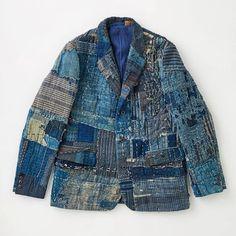Kuon Made Jacket From Old Japanese Boro - Long John Boro, Denim Jacket Men, Men Shorts, Men's Denim, Denim Style, Denim Jackets, Sperrys Men, Japanese Textiles, Japanese Embroidery
