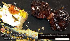 Inauguramos Mes de Noviembre con nuevos platos en nuestra carta y hoy te sugerimos, por ello: Carrillera de cerdo ibérica estofada con puré de apio y polenta de verduras gratinadas....¿apetece? 968548457