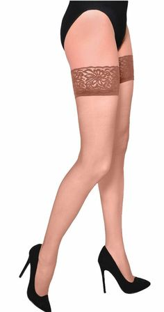 20 Denier Sheer Stockings Gorgeous Hold-Ups with silicon bands Hosiery Cute Stockings, Stockings Heels, Stockings Lingerie, Nylons, Pantyhose Heels, Thigh High Socks, Thigh Highs, Formal Heels, Lacy Tops