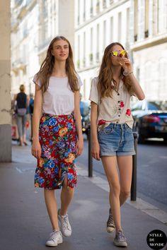 Haute Couture Fall 2015 Street Style: Hedvig Palm and Emmy Rappe Model Street Style, Street Style Summer, Autumn Street Style, Street Chic, Street Style Women, Street Fashion, Tokyo Fashion, Paris Street, Spring Summer Fashion