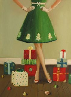 """""""Her Christmas Tree Dress Was The Highlight Of The Party"""" by Janet Hill"""