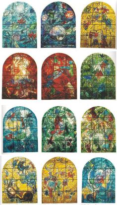 Hebrews - History, Art and Jewish symbols -The twelve tribes of Israel - stained glass windows by Marc Chagall Glass Wall Art, Art Masters, Marc Chagall, Art Stained, Jewish Symbols, Art, Famous Artists Paintings, Jewish Art, Judaica Art