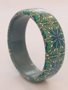 Green and blue William Morris bangle. Beautiful by DoodlePippin
