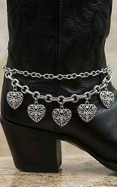 Blazin Roxx® Silver Double Chain with Heart Charms Boot Bracelet | Cavender's