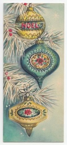Vintage Greeting Card Christmas Glass Indent Ornaments Hallmark Mid-Century