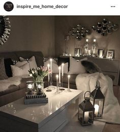 seating area :: lanterns:: candles :: white sliver mirror