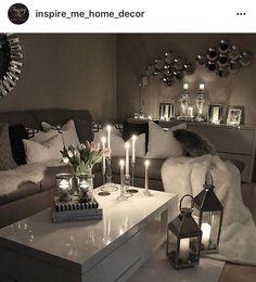 seating area :: lanterns:: candles :: white sliver mirror
