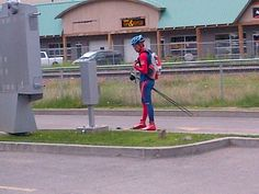 Something you can only see in Canmore - a guy on rollerskis at the DQ Drive-thru