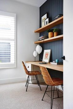 Home Office Furniture Wood . Home Office Furniture Wood . Home Office In Black and White Colors Wooden Desk Monstera Home Office Space, Home Office Design, Home Office Decor, Office Furniture, Office Designs, Home Office Shelves, Bedroom With Office, Modern Furniture, Hallway Office