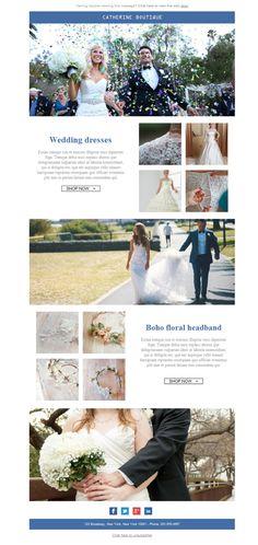 Tipo sirena, tipo línea A, tipo imperio, tipo Ball Gown... ¡no importa el estilo de tus vestidos de boda para hacer emailing con Mailify! Las plantillas newsletter son totalmente personalizables. ¡Haz la prueba!