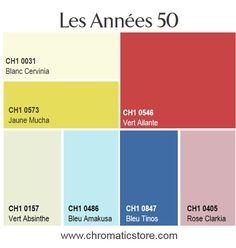 Les années 50 sont à l'honneur et avec elles une gamme de couleurs vives et de tons pastel directement inspirés des meubles en formica typiques de cette époque! www.chromaticstore.com #deco style #fifties