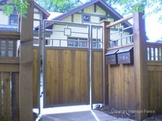 craftsman fence designs - Google Search Wood Fence Design, Mid Century Exterior, House Proud, Double Gate, Driveway Gate, Gate Ideas, Fence Ideas, Craftsman Style, Home Crafts