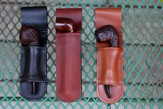 Pipe holsters from Smokin' Holsters. Wooden Smoking Pipes, Tobacco Pipe Smoking, Tobacco Pipes, Briar Pipe, Cigar Shops, Pipes And Cigars, Leather Carving, Coffee And Books, Leather Projects
