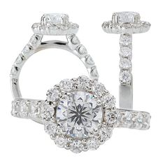 18k diamond halo engagement ring, holds a 6.5mm center stone