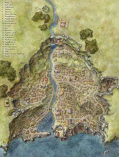 Fantasy town illustrated for map pack river port city map cartography