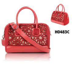 handbag 2013 fall, red color ,  felt bag, leather bag, blingbling, 2087 brand, laser cutting