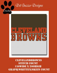 Cleveland Browns Inspired Blanket Crochet Graph Graphghan Pattern WITH WRITTEN INSTRUCTIONS, skein and stitch count by DelGuzzoDesignStudio on Etsy