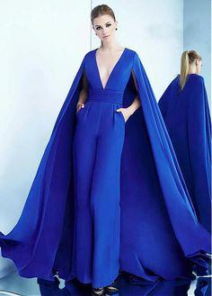 8f08413f2b74 Newest Jumpsuit Satin V-neck Neckline Evening Dresses With Pockets