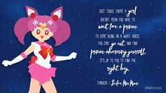 """""""Just 'cause you're a girl doesn't mean you have to wait for a prince to come along on a white horse. You can go out and find Prince Charming yourself. It's up to you to find the right boy."""" – Chibiusa/Sailor Mini Moon"""
