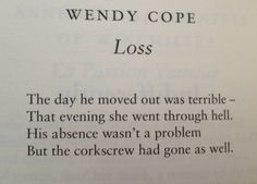 Loss by Wendy cope