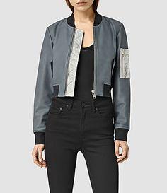 Womens Wells Leather Bomber Jacket (SLATE BLU/OYST WHT) - product_image_alt_text_2