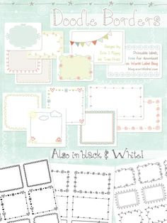 These really cute free printable Doodle Borders for labels are designed by Erin Rippy of InkTreePress. These doodle borders are in fillable and editable PDF templates. Use them as favor labels, shippi