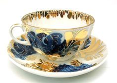 Golden Garden Tea Cup and Saucer from the Lomonosov Porcelain Factory available at The Russian Gift Shop in Lisle IL