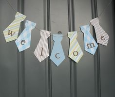 Little Man necktie banner WELCOME Birthday party, baby shower - Blue, Brown, Green or Custom colors. $13.00, via Etsy.