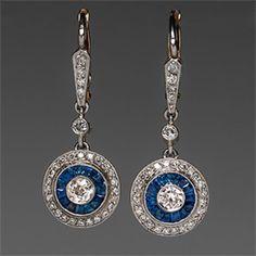 1920's Art Deco Dangle Earrings Diamonds  Blue Sapphires in Platinum  18K Gold