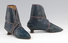 """Boots: ca. 1795-1810, European, leather. """"Boots began to become fashionable for women in the last quarter of the 18th century, but their use was limited primarily to riding and driving. Few pairs survive, and the peculiar wrap-around leg on this example is specific to this period and extremely rare. Although not well-fitted enough to provide a particularly secure fastening to the foot, the wrapped leg may have been intended to provide superior protection from dust and moisture..."""""""