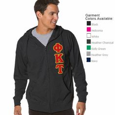 Beach Full-Zip Hooded Fraternity Tee with Twill #fraternity #clothing #greek #hoody