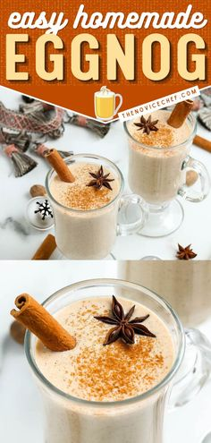 There's nothing like a chilled glass of old fashioned eggnog! You are only a few easy steps away from this holiday drink. Once you try this Homemade Eggnog, you'll be saying goodbye to store-bought! Save this Christmas recipe! Homemade Eggnog, Easy Drink Recipes, Holiday Drinks, Non Alcoholic, Bartender, Alcohol Free