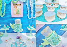 Little Mermaid Under the Sea themed birthday party theme Ariel Disney Blue Turquoise
