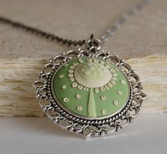 Dandelion necklace  dandelion pendant green by JonelleJames, $28.00