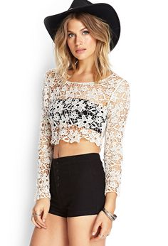 Floral Crochet Crop Top |
