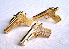 Gold Gun Cufflinks by Cosmic Firefly Etsy. Find our speedloader now!  http://www.amazon.com/shops/raeind