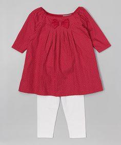 Look at this #zulilyfind! Red Polka Dot Boatneck Dress & Leggings - Infant & Toddler #zulilyfinds