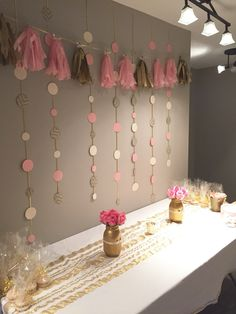 DIY set up for a pink and gold bridal shower :)