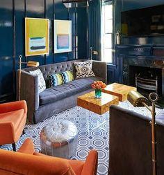 Jonathan Adler Bond End Table with Lucite Base | Clear Home Design Dark Blue Walls, Navy Walls, Orange Couch, Orange Chairs, Hague Blue, Lacquer Furniture, Home Decoracion, Design Salon, Favorite Paint Colors