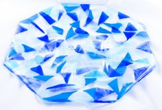The Blues Hexagonal Fused Glass Plate by BecauseofLily on Etsy