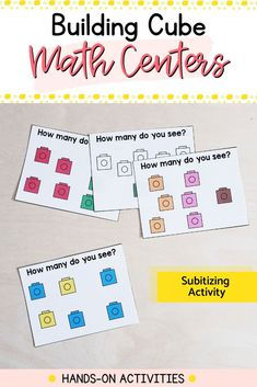 Need fun and engaging math centers for your kindergarten classroom? These 18 hands-on activities will reinforce fine motor and math skills all year. Easy to use and prep: just add snap cubes. Subitizing Activities, Kindergarten Math Activities, Literacy Skills, Motor Activities, Hands On Activities, Kindergarten Classroom, Cubes Math, Build Math, Math Concepts