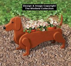 I'd paint it black since our weenie is black : Flower Pot Planter Plan! I'd paint it black since our weenie is black :) Wooden Projects, Wooden Crafts, Winfield Collection, Wood Animal, Wooden Planters, Wood Toys, Yard Art, Woodworking Projects, Woodworking Plans