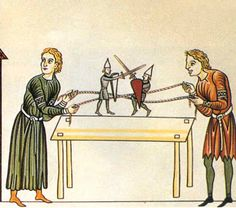 Renaissance Pastimes - late 12th century image from the 'Hortus deliciarum' | boys and girls alike might play with puppets, usually at the time called mammets or mawmets, often clever kinetic toys that might be knights who jousted or acrobats who tumbled as well as simplified versions of the sorts of puppets professional puppet players used to put on a variety of plays mimicking the tastes of the time with live actors.