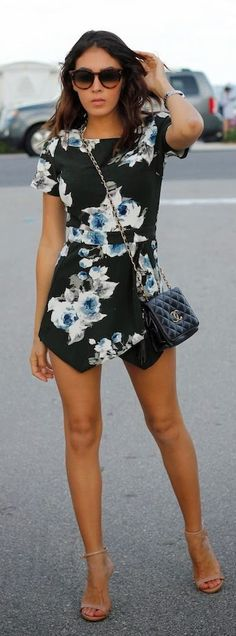 Floral Skort Romper by The Chiffon Diary