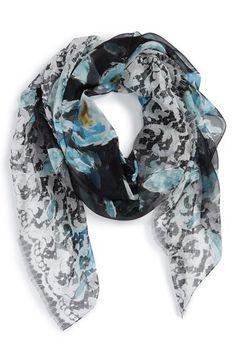 Oscar de la Renta Floral Print Silk Scarf available at #Nordstrom