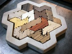 Hexiamond Unique Wood Puzzle Snowflake Frame by scrollwoodshop