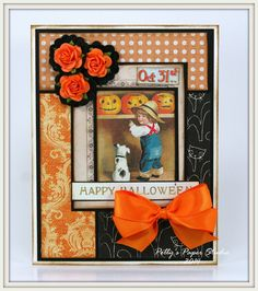 Boy with Pup and Pumpkins Halloween Greeting Card by PollysPaper, $7.00