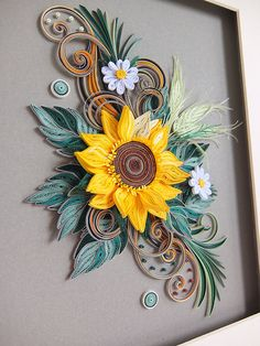 Sunflower Passion Quilling Wall Decoration by QuillingBG on Etsy